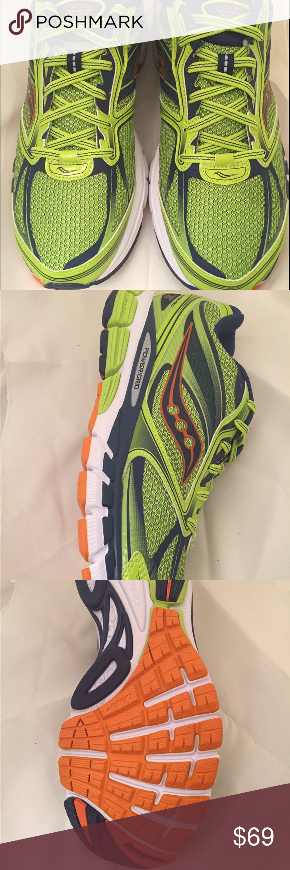 Men's Saucony Guide 8 Running Shoes size 10 Saucony Guide 8 Running Shoes for Men in size 10. Color: Lime Green, White and Blue. New never worn Saucony Shoes Athletic Shoes