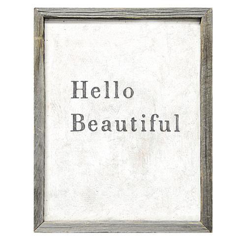 Hello Beautiful Simplicity Vintage Reclaimed Wood Wall Art