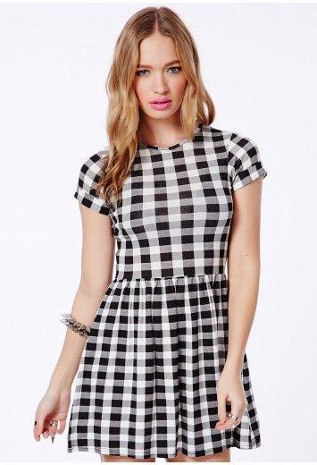 Antonina Black Skater Dress In Gingham Print - Dresses - Skater Dresses - Missguided