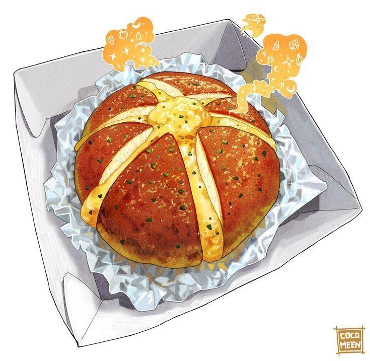 Tranh vẽ : Bánh mì bơ tỏi 🥯🧀