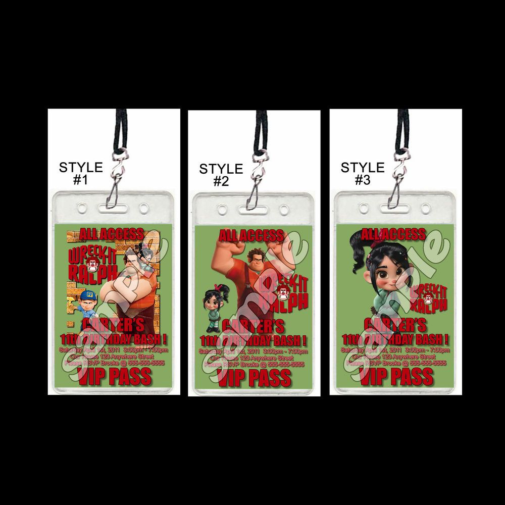 Wreck-It Ralph Set of 12 VIP Party Invitation Passes or Party Favors ...