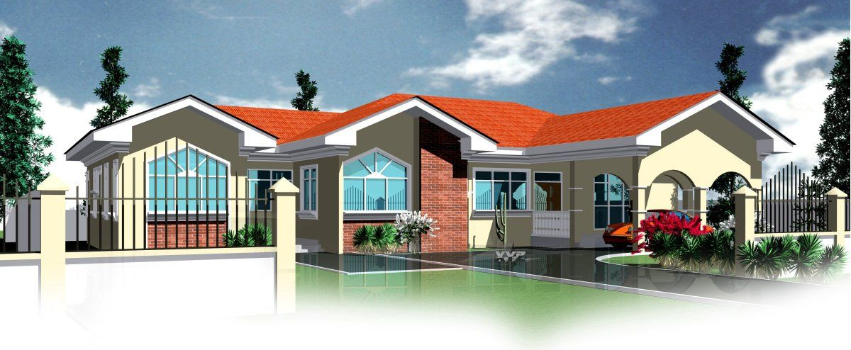 Ghana Floor Plans 4 Bedrooms And 3 Bathrooms For All African Countries House Plans African House Dream House Plans