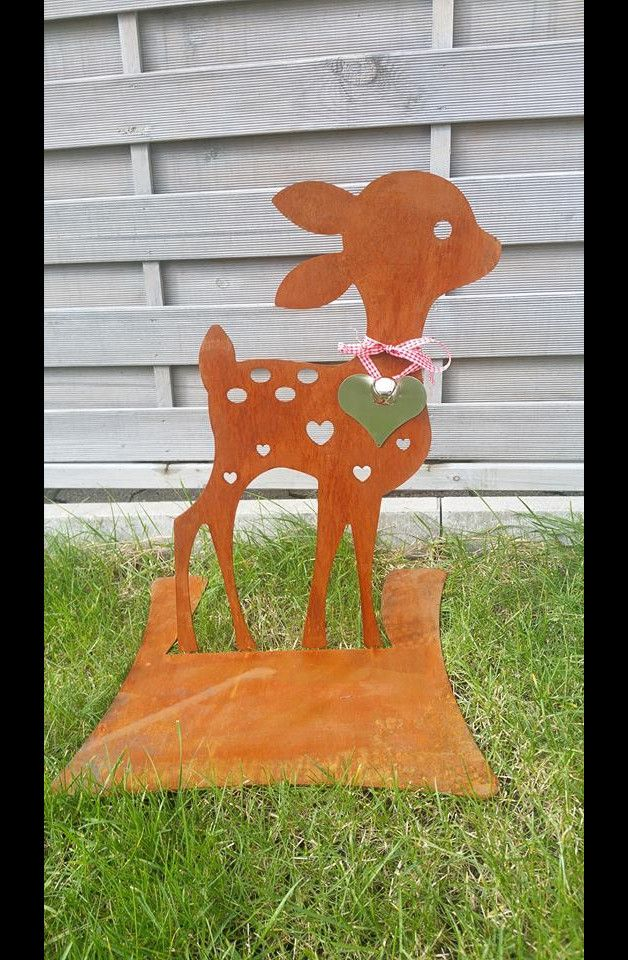 Bambi - Reh Gartenfigur Gartendeko Rostoptik
