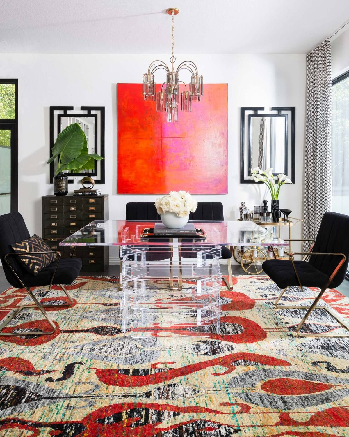 If You Want To Make A Statement Modern Rugs Like This One With Bold Colors And Patterns Are An In 2020 Area Rug Dining Room Area Room Rugs Dining Room Decor