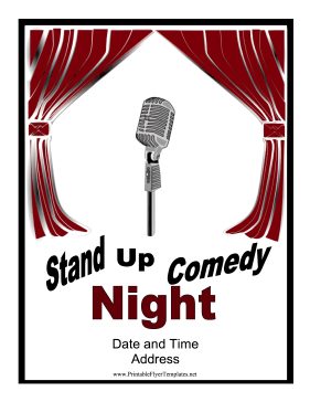 Get New And Aspiring Comics With This Stand Up Comedy Night Event Flyer Free To Print