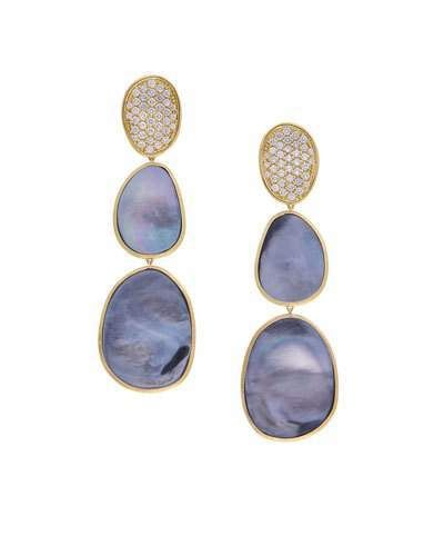 b88ef9cf9d3a Marco Bicego 18K Lunaria Triple-Drop Earrings with Black Mother-of-Pearl    Diamond