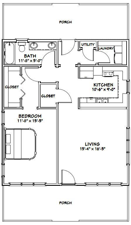 28x32 Houses 1 Bedroom 1 Bath PDF Floor by ExcellentFloorPlans