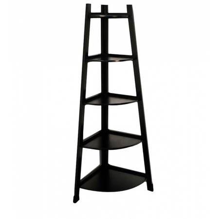 Black Corner Bookshelf Ladder Unit Finish Shelves Display Wooden Storage Shelf
