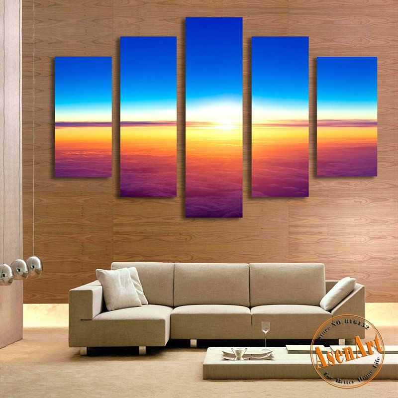 5 Panel Painting Sunset Seascape Painting For Living Room Modern Home Decor Wall Art Canvas Prints