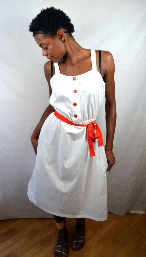 Vintage 1970s 80s White Summer Dress