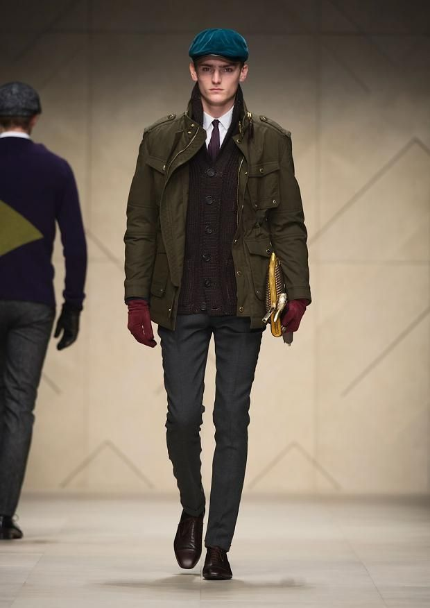 Men's army clothing on the runway for fall 2012