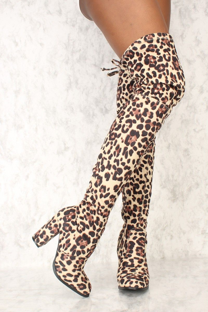 91baa842918 Sexy Leopard Round Pointy Toe Thigh High Boots Single Sole Chunky High Heel  Faux Suede