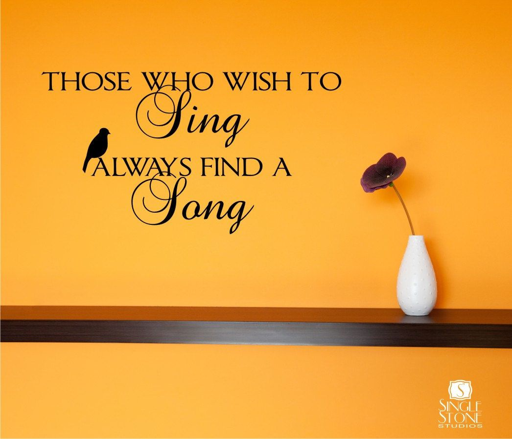 Wall Decals Wish To Sing - Music Song Vinyl Text Wall Words Stickers ...