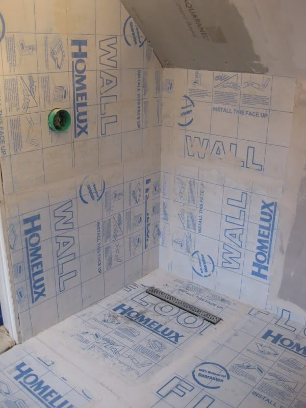 DIY Wet Room Shower | Tanking the walls and floor with Homelux membrane:- (be patient, it's ... #wetrooms