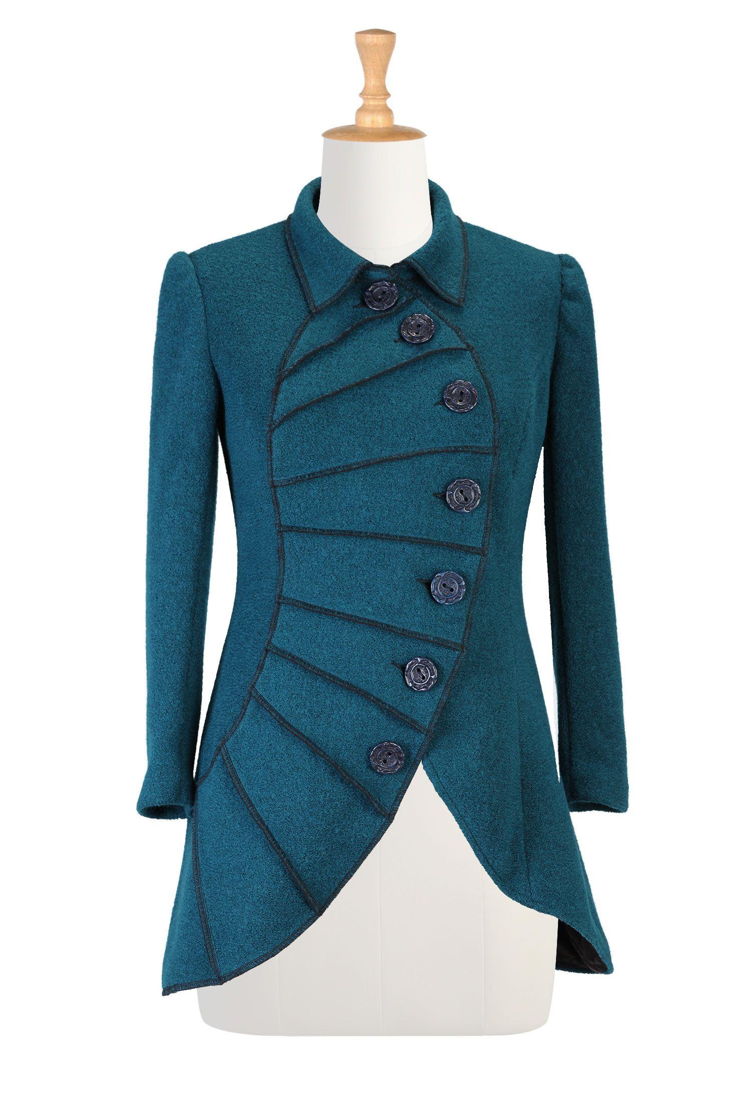 Asymmetric fan pleat blazer blazers womenus fashion and black button