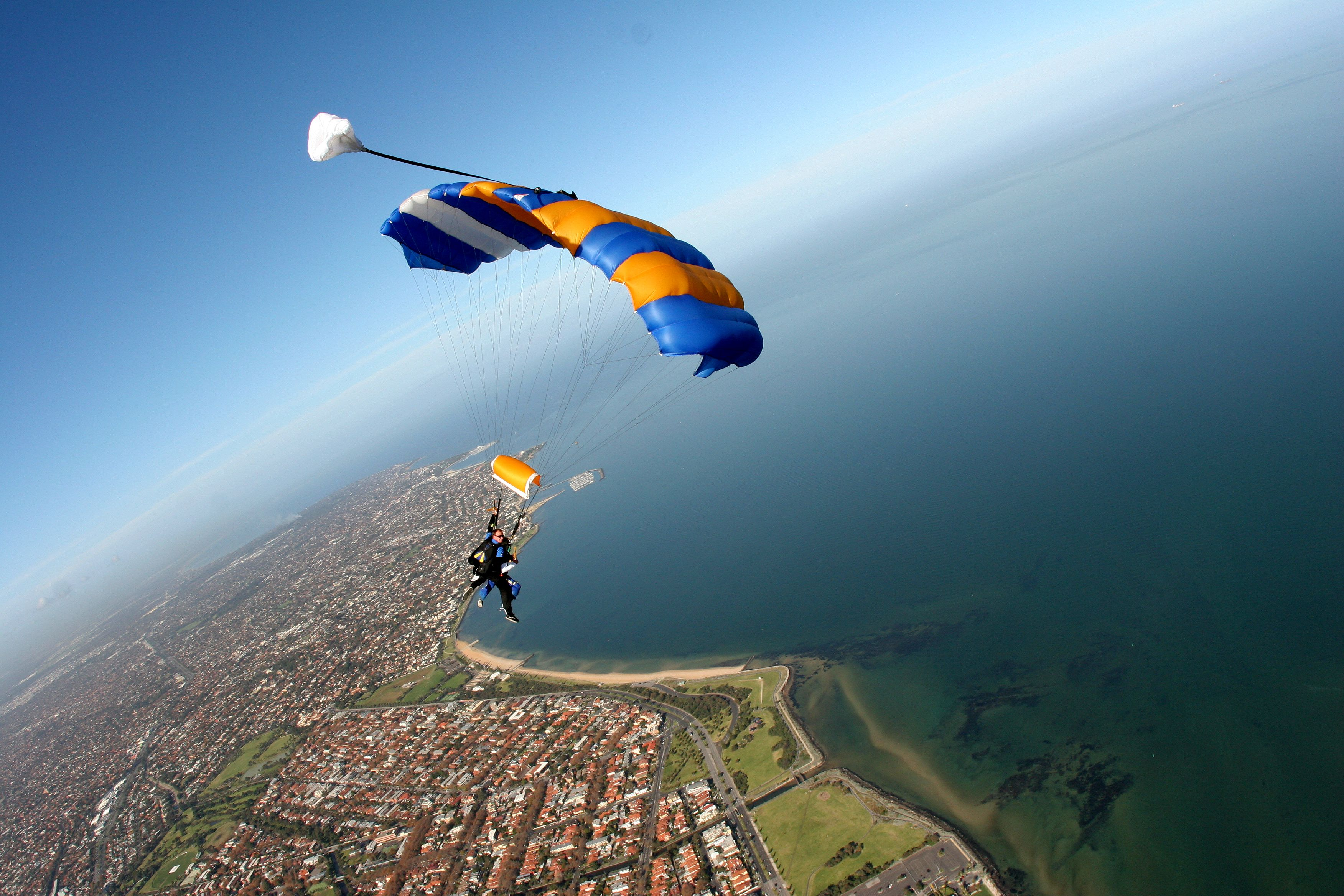 Katie and Cody taking in the views over St Kilda #melbourne #skydive