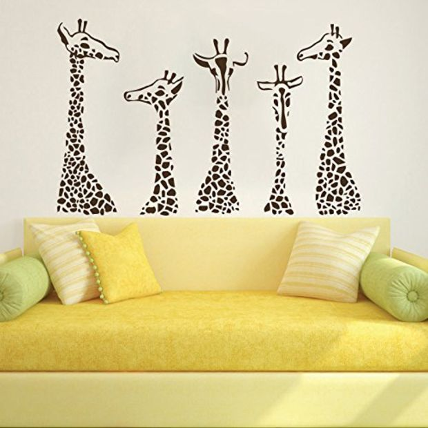 Wall Decals Giraffe Animals Jungle Safari African Kids Children ...