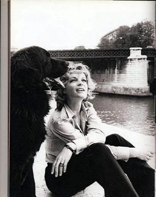 Romy Schneider with dog