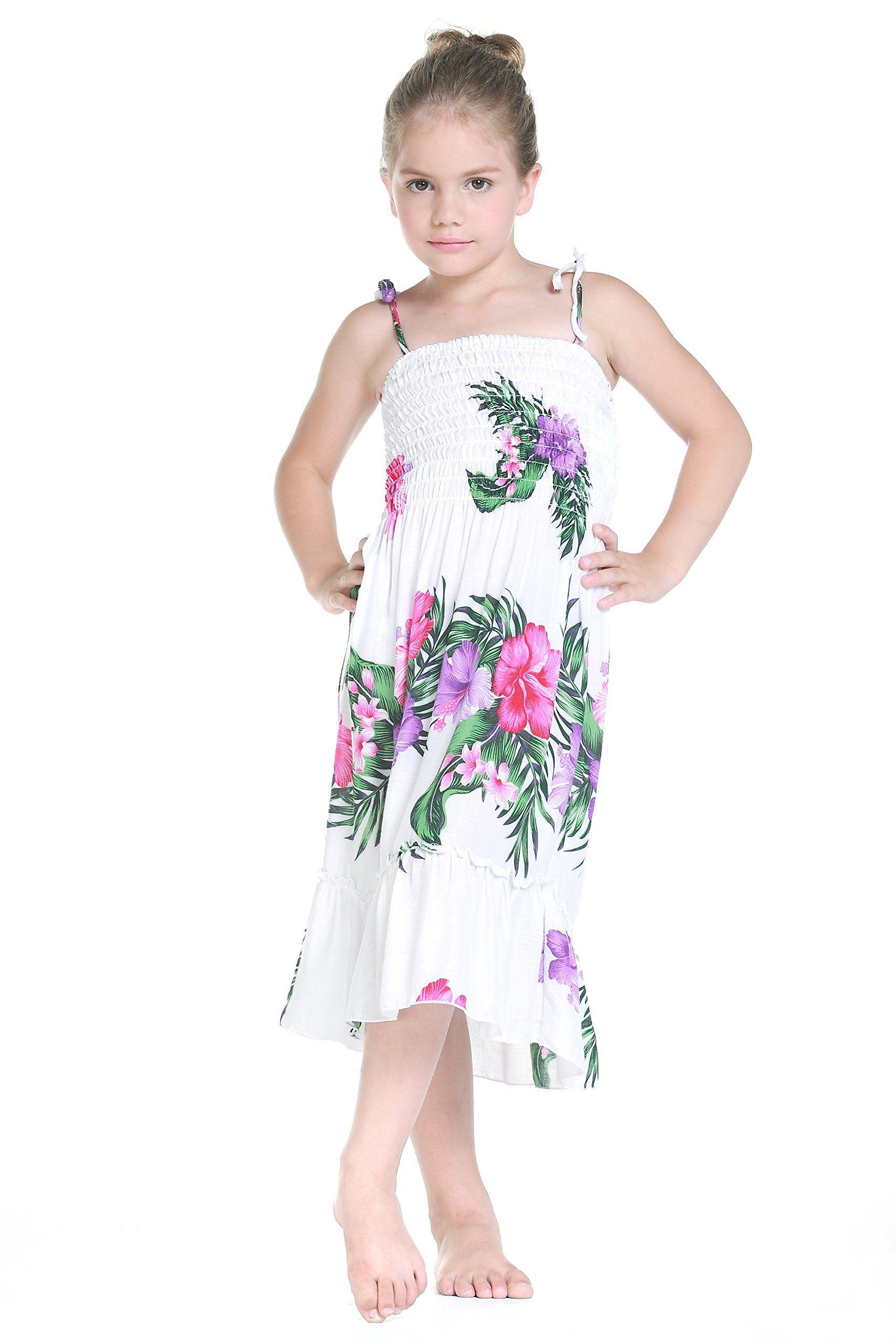 MADE IN HAWAII GIRL LUAU BEACH CRUISE ELASTIC STRAP DRESS Blue Plumeria Flower