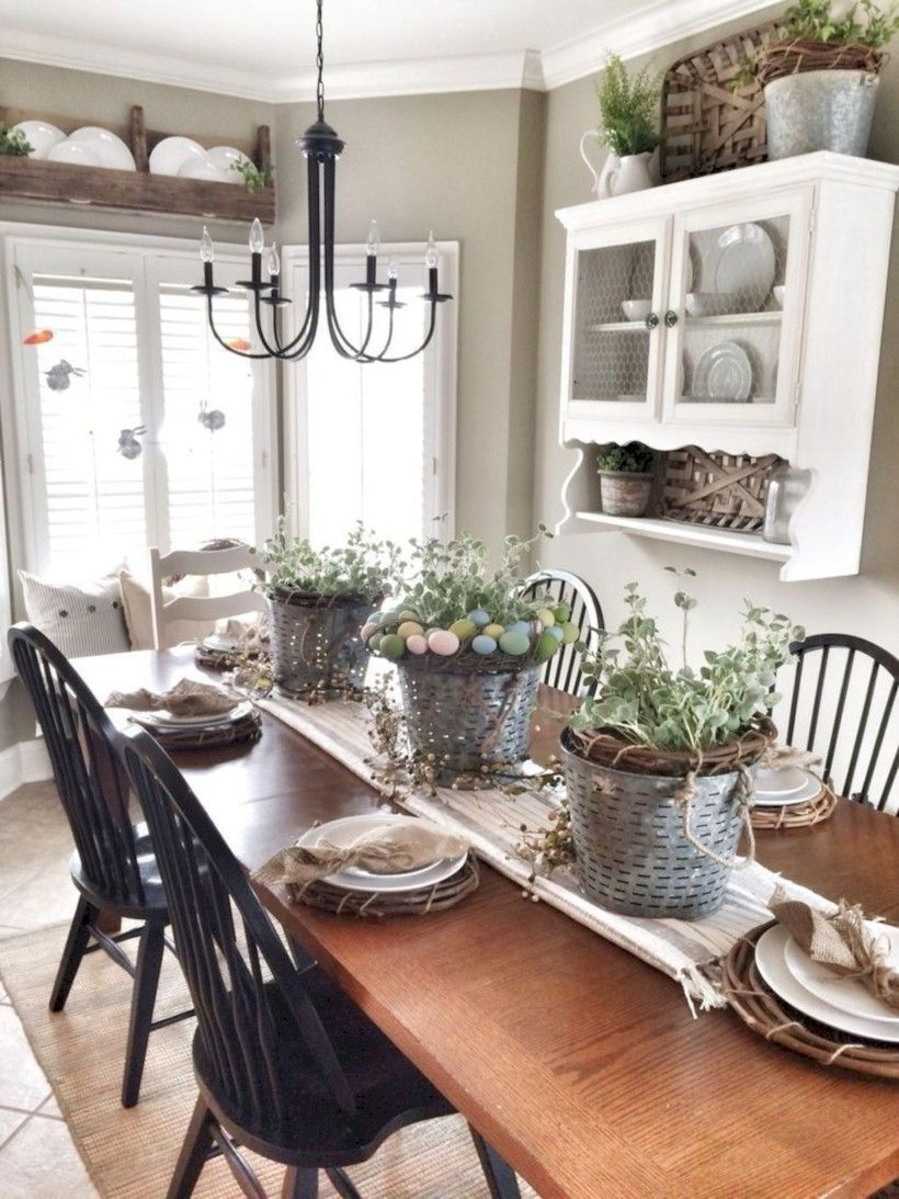 Farmhouse Dining Room Ideas Are Adorable And Lasting This Is Simple And Stunning Rustic Farmho Kitchen Cabinets Decor Farmhouse Dining Farmhouse Table Setting
