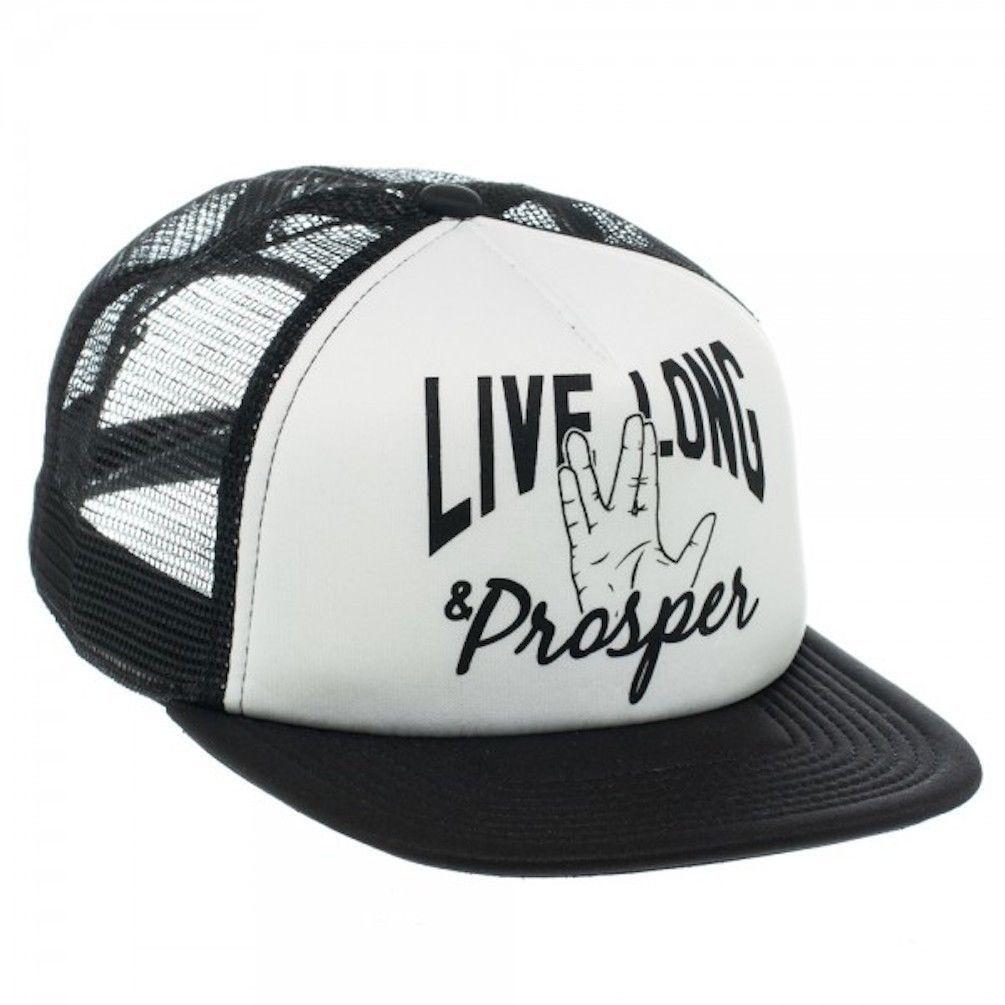 900ddc4562d Star Trek Live Long   Prosper Logo White   Black Trucker Baseball Cap Hat