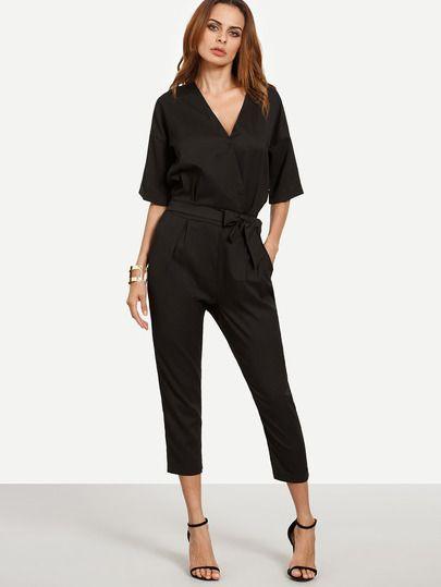 Jumpsuit mit tiefem v ausschnitt schwarz german shein sheinside mobile seite fashion - Shein damenmode ...