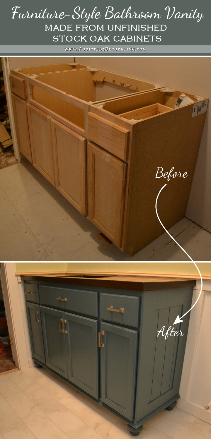 Photo of Teal Furniture-Style Vanity Made From Stock Cabinets – Finished! – Addicted 2 Decorating®