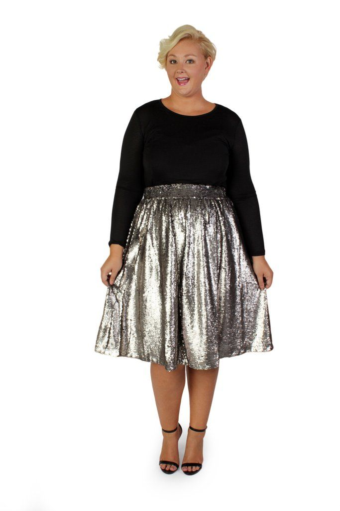 32a0f3ce1a6 Plus Size Clothing for Women - Mermaiden Sequin Midi Skirt - Silver -  Society+ - Society Plus - Buy Online Now! - 1