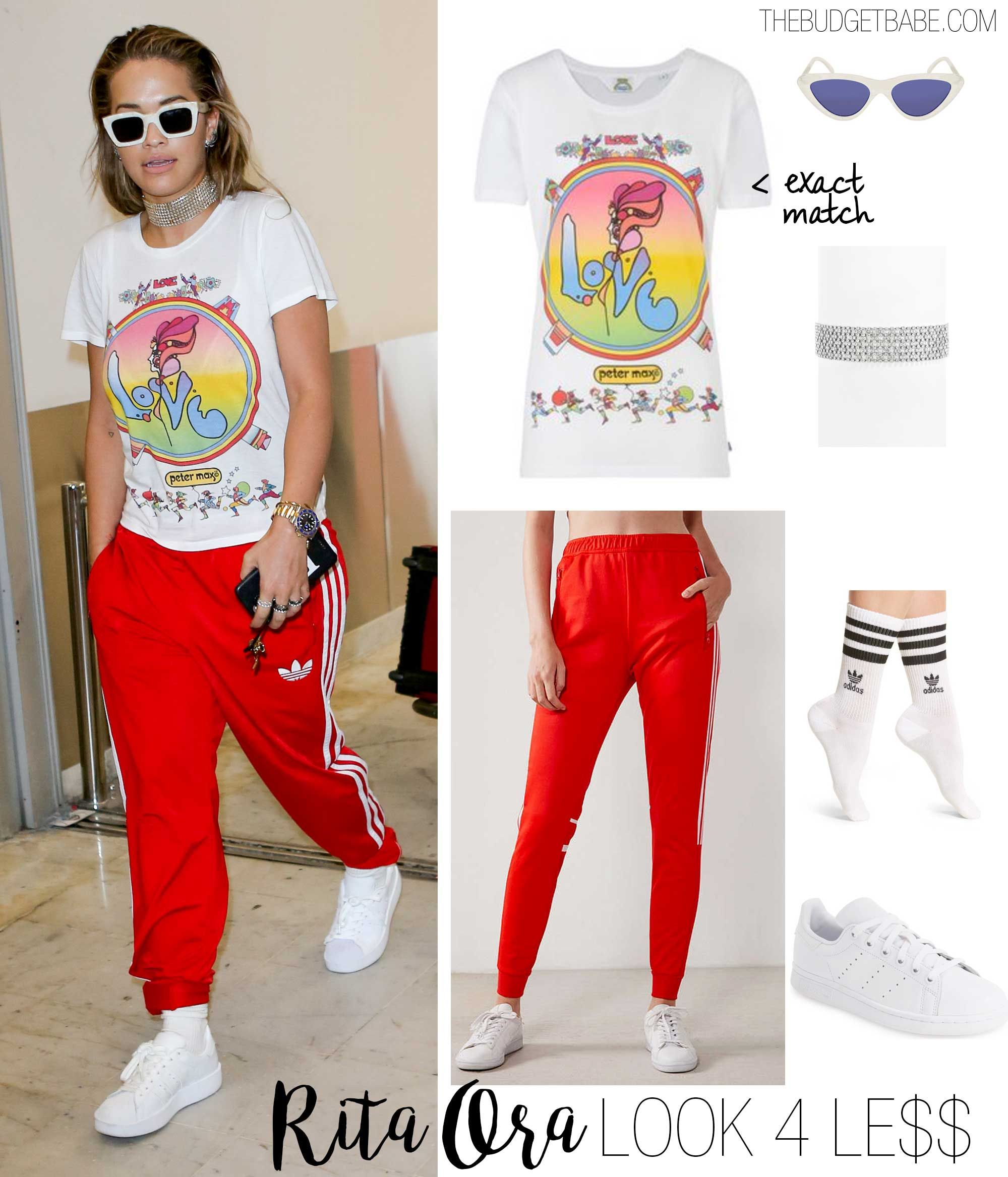 Rita Ora s  Love  t-shirt and red adidas track pants look for less ... dc62c7fe662