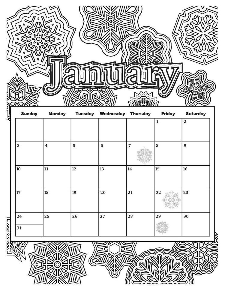 Read Morejanuary Calendar With Winter Mandala Theme Coloring Page