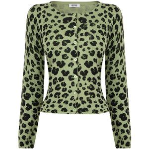 MOSCHINO CHEAP & CHIC Silk and Cashmere Leopard Print Cardigan ...