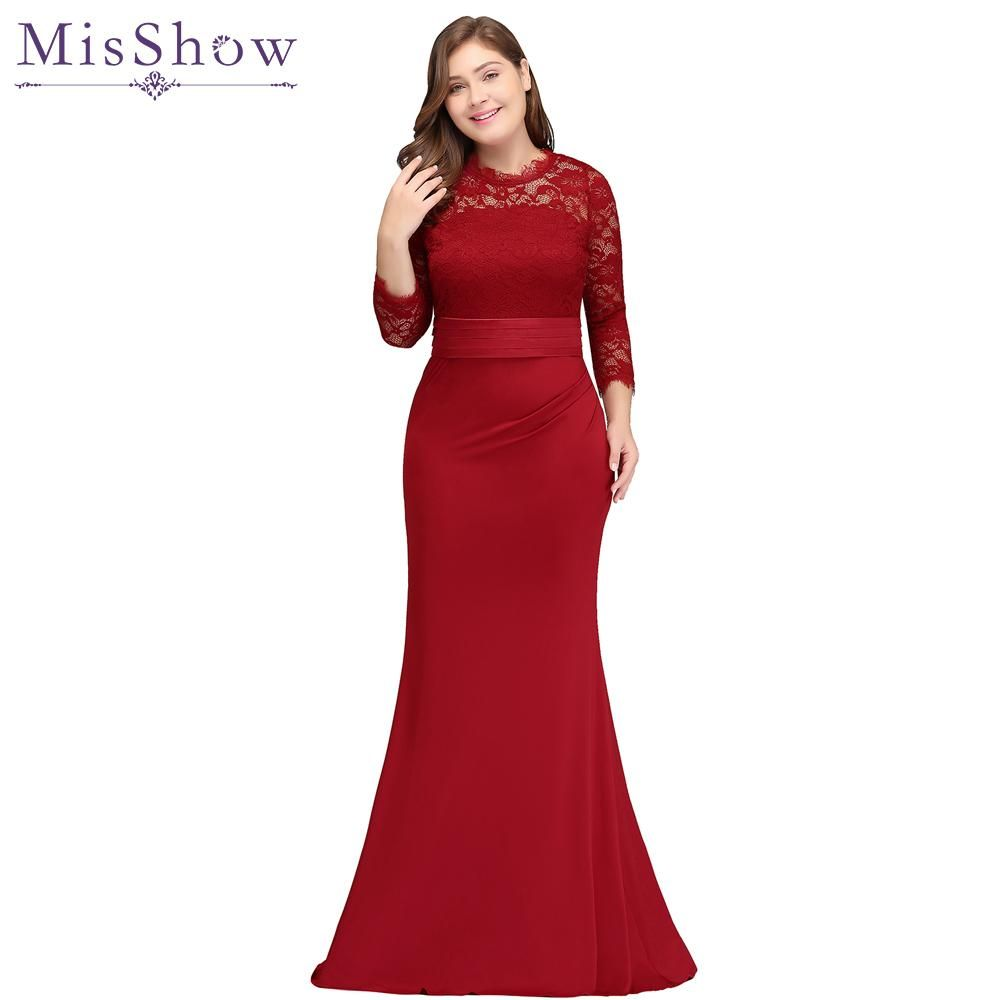 Plus size evening dresses red royal blue long mermaid evening party