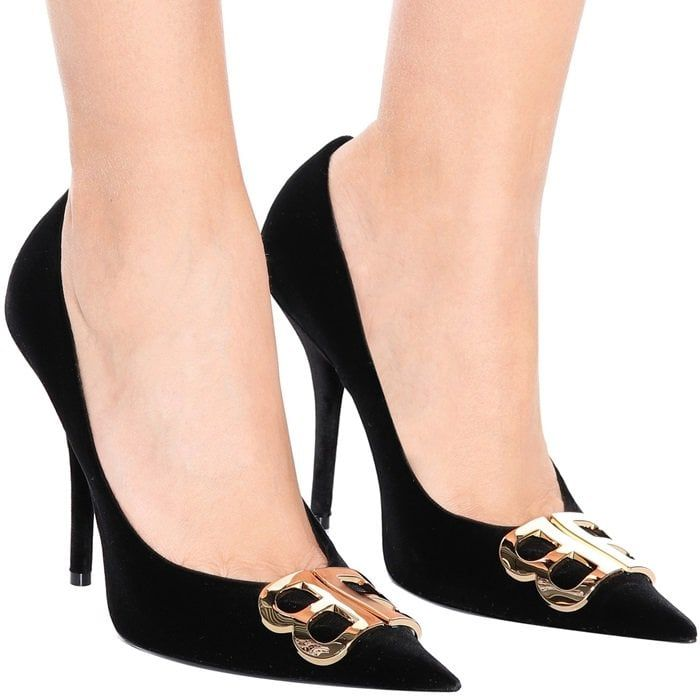 bafa5dbddfc7 BALENCIAGA BB Pointy velvet black pumps Stilettos