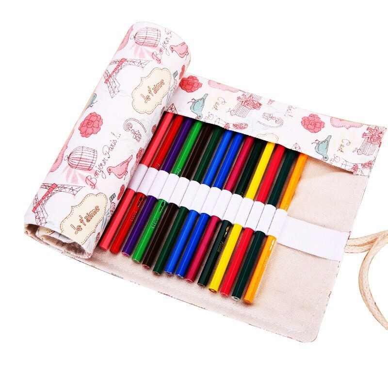 36//48//72 Holes Canvas Pencil Bag School Painting Stationery Roll Pencil Case Bag
