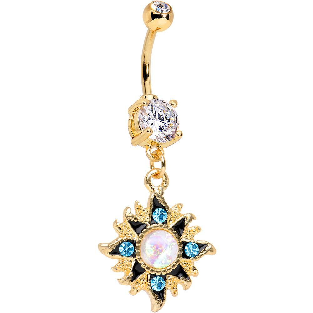 Belly button piercing jewellery  Clear Accent Gold Anodized Aurora Blue Gem Starburst Dangle Belly