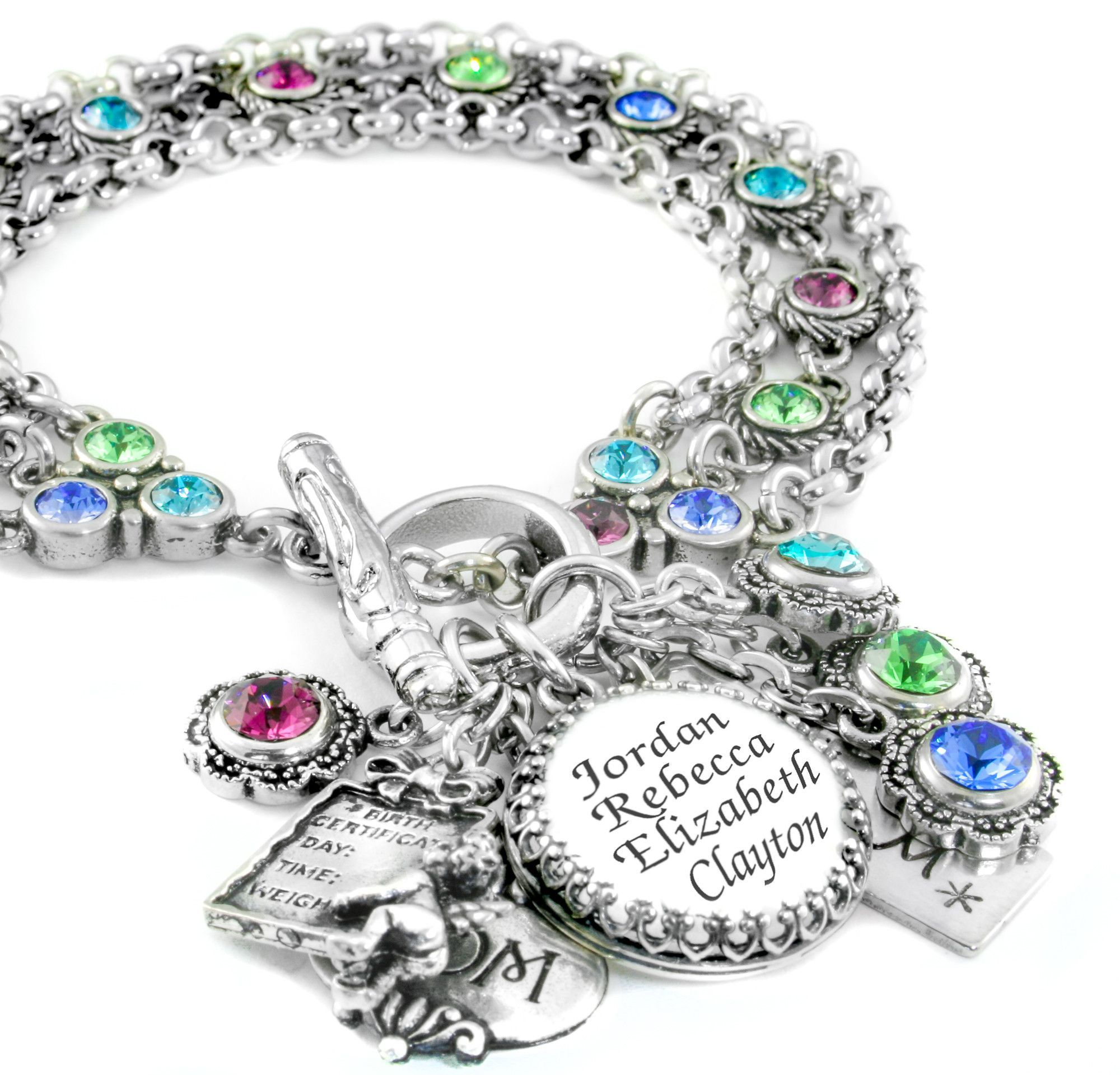 Mothers Charm Bracelet: Birthstone Charm Bracelet, Mother's Bracelet, Grandmother