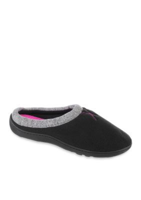 Isotoner  Slippers Black Boxed Fleece Cushioned Clog Slippers