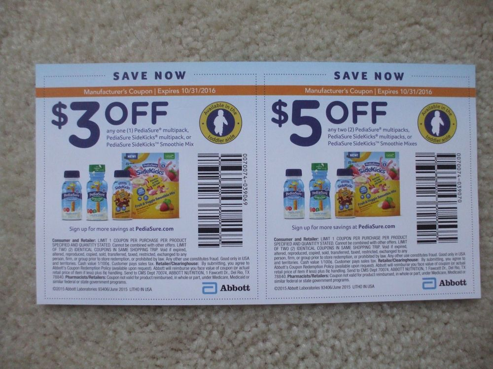 graphic about Pediasure Printable Coupon referred to as PediaSure Coupon codes~Conserve $8.00! 1 $5 coupon and 1 $3 coupon