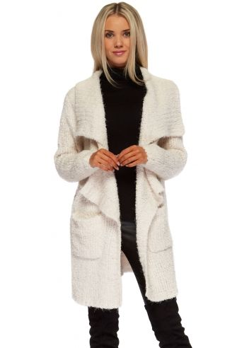 Designer Desirables Cream Chunky Knit Waterfall Cardigan Coat ...