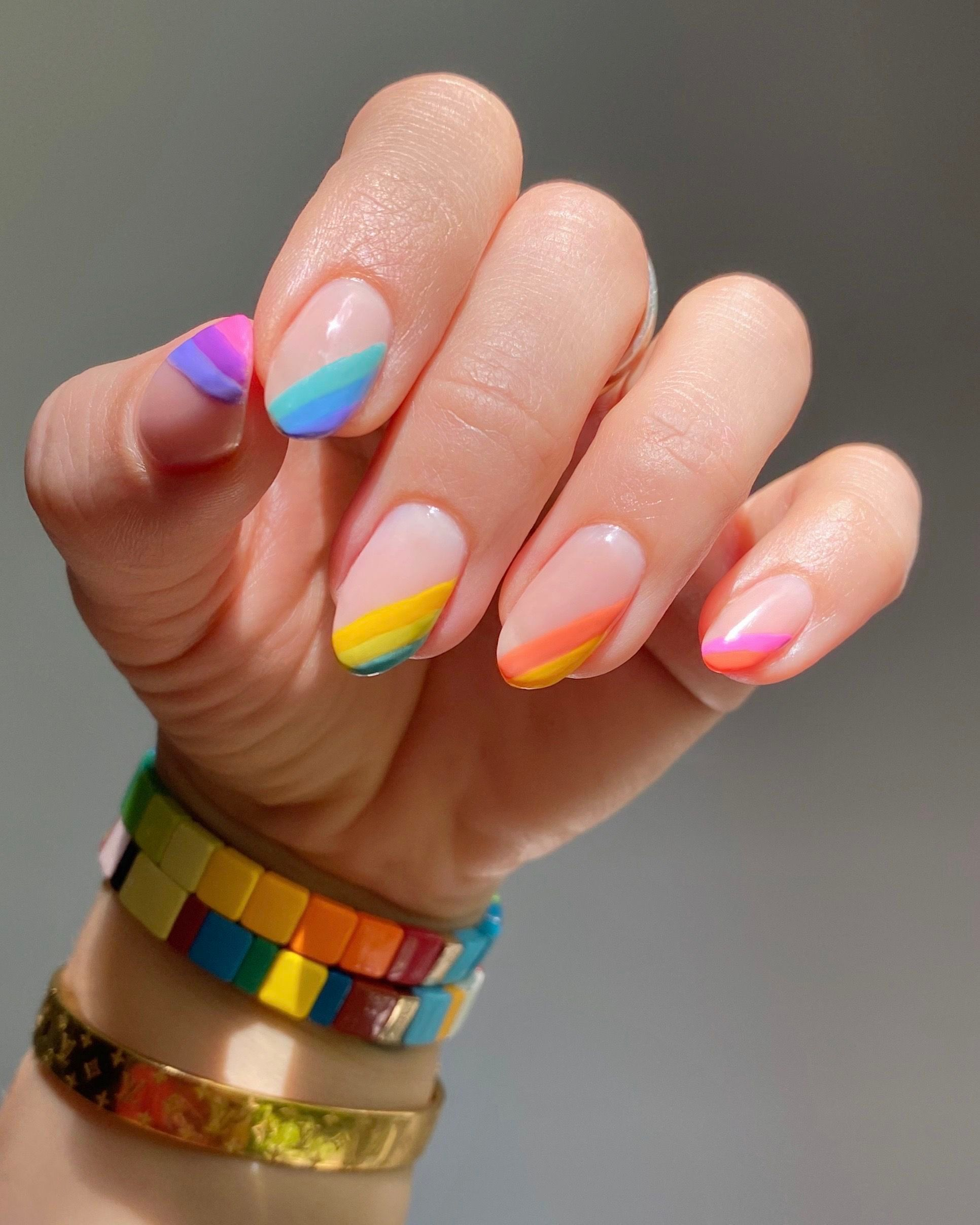 NAIL ART HOW-TO: Rainbow Candy PRIDE Mani!  — Julie Off Duty   New York   Celebrity Manicurist & Bea