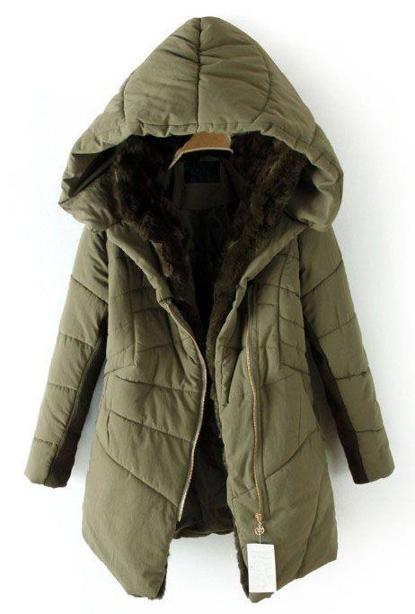 Dark Green Hooded Contrast Fur Lined Irregular Stitch Padded Coat ...