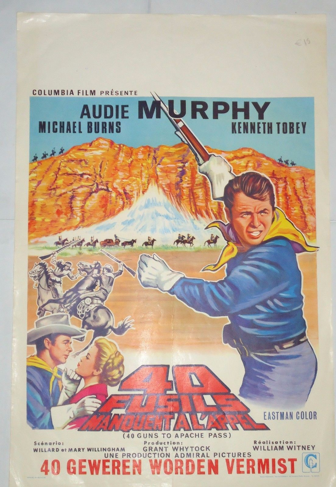 Western Audie Murphy 40 Guns To Apache Pass Belgian Poster Western Movies Old Western Movies Movie Posters Vintage