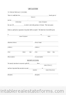 free gift letter for buyer from family member printable real estate