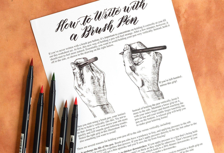 Introducing Tpk S First Brush Pen Calligraphy Worksheet
