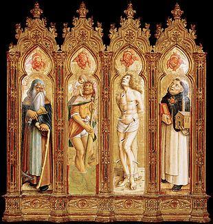 Polittico del Duomo di Camerino - I quattro santi a Denver - Carlo Crivelli