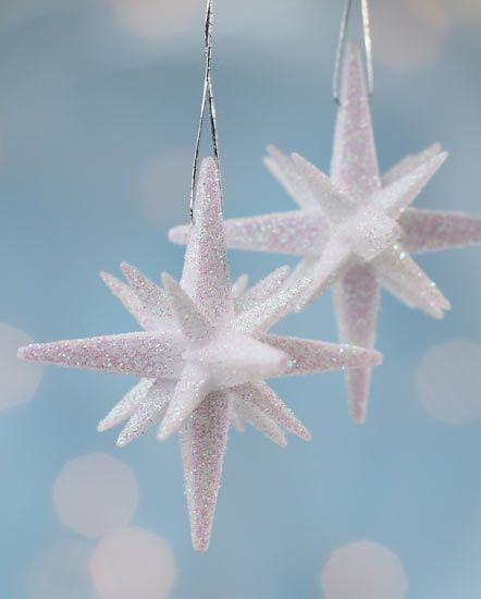 Star Ornament Crafts 3d White Glitter Mini Star Ornaments 2pcs