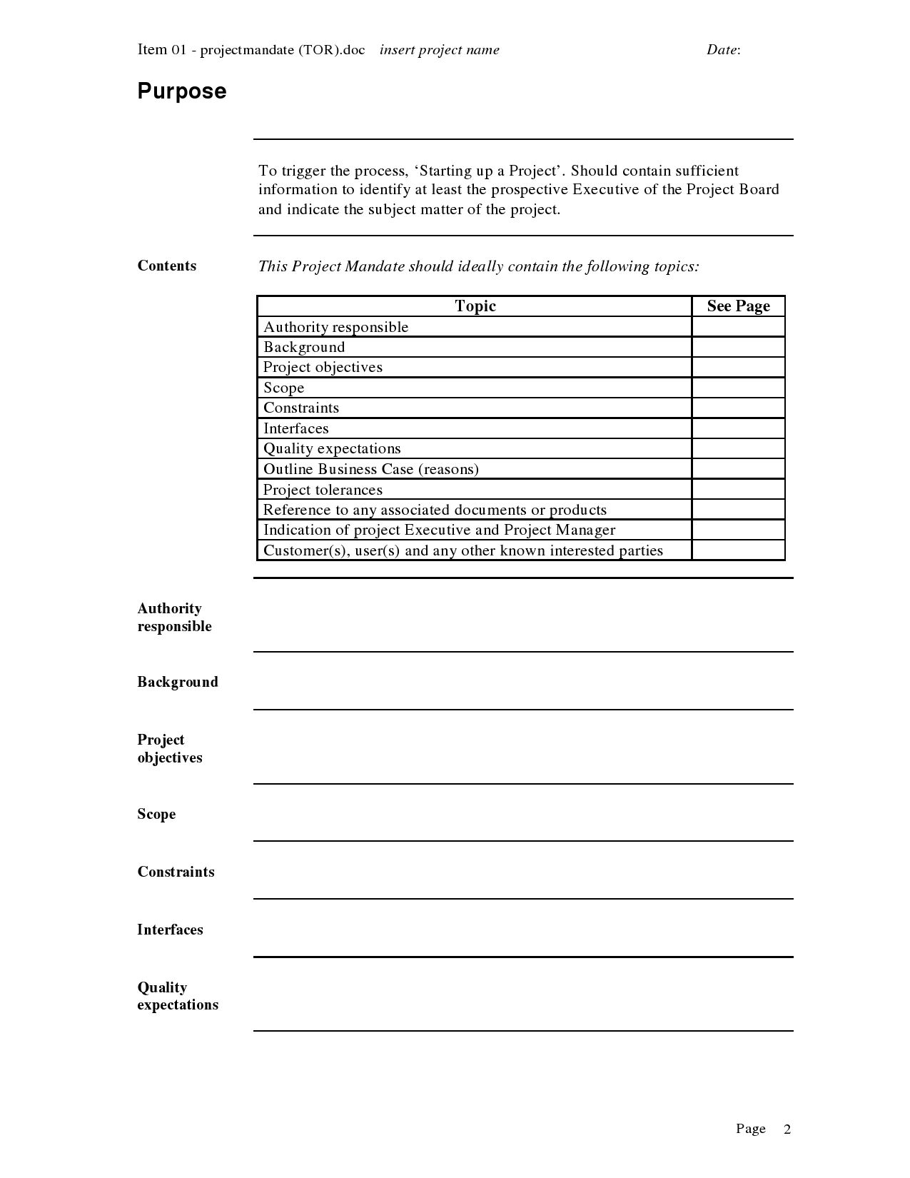 Project mandate template project approach pinterest for End of project report template