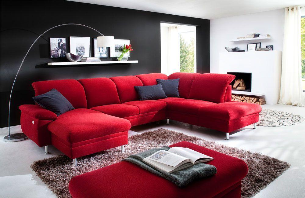Gemutliche Wohnlandschaft Mara In Knalligem Rot Ist Das Sofa