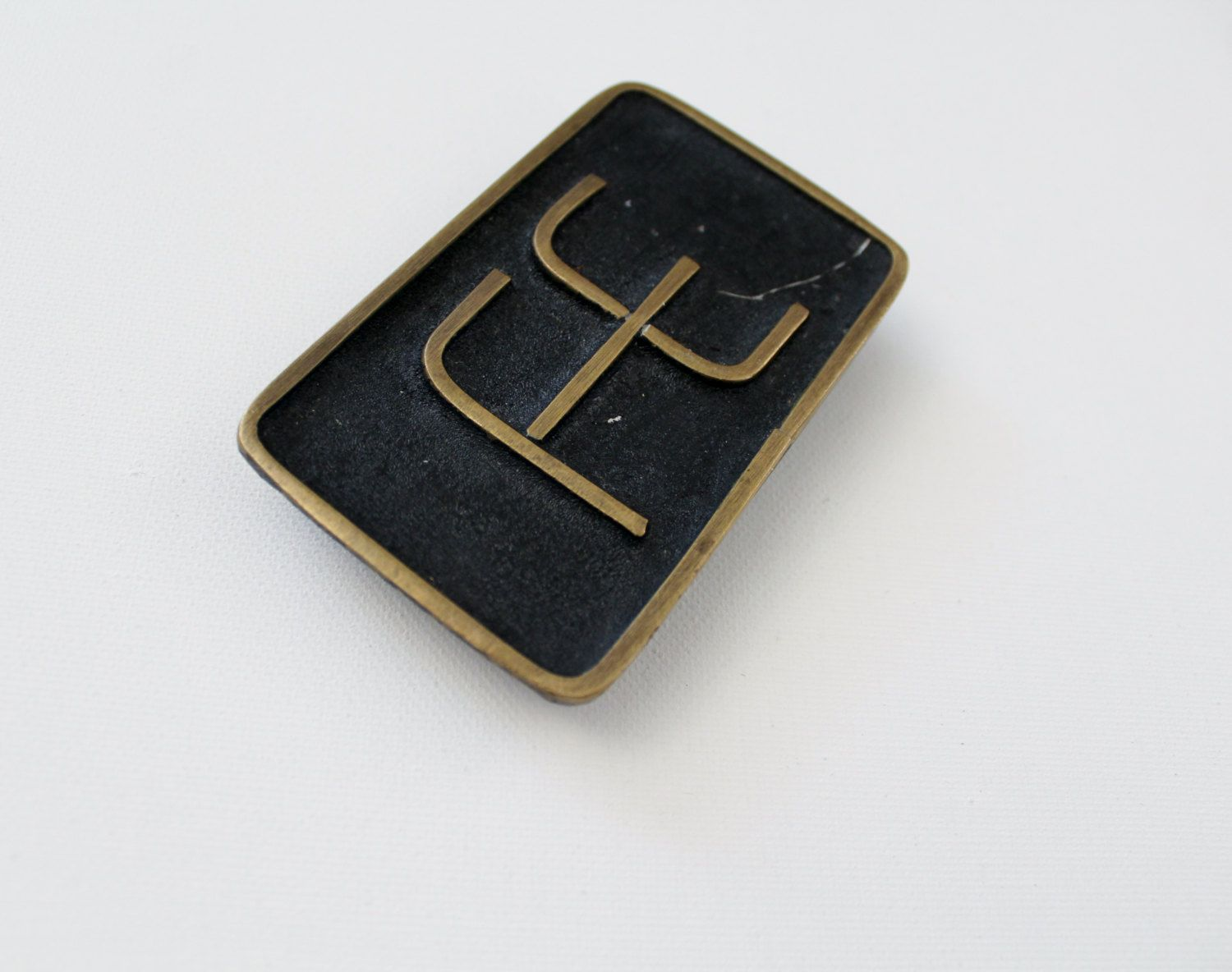 Vintage Brass Fe Belt Buckle Symbol For Iron Periodic Table Of