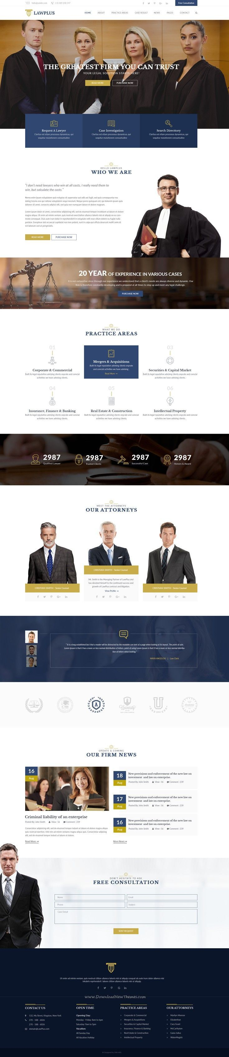LawPlus Is A Clean And Modern PSD Template For Law Firm Attorneys - Lawyer website template
